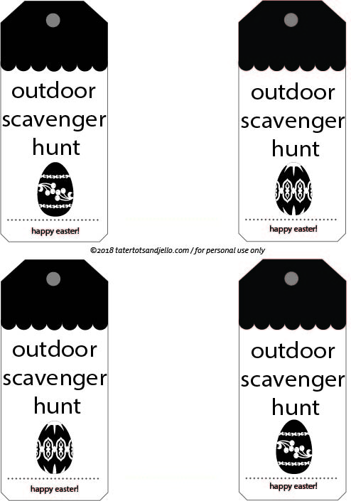 Easter Egg Outdoor Scavenger Hunt Tags for Baskets