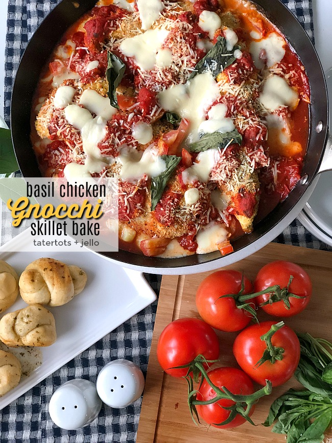Basil Chicken Gnocchi Skillet Bake - with @Walmart's new Sam's Choice Italia line. Basil Chicken Gnocchi Skillet Bake. Layers of tomato basil pasta sauce, creamy gnocchi, crispy breaded chicken, fresh basil and gooey cheese are baked for a hearty Italian dish everyone loves! #sponsored #WalmartWOW #ItalianRecipe #RecipeKidsLove #GnocchiRecipe
