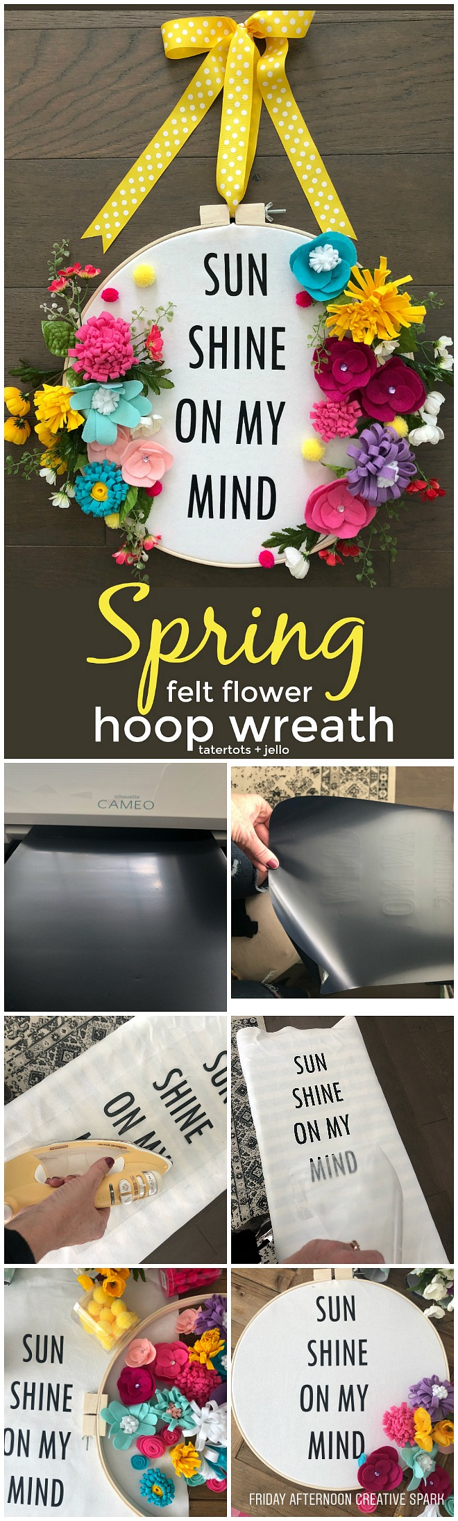 How to make a felt flower hoop saying wreath