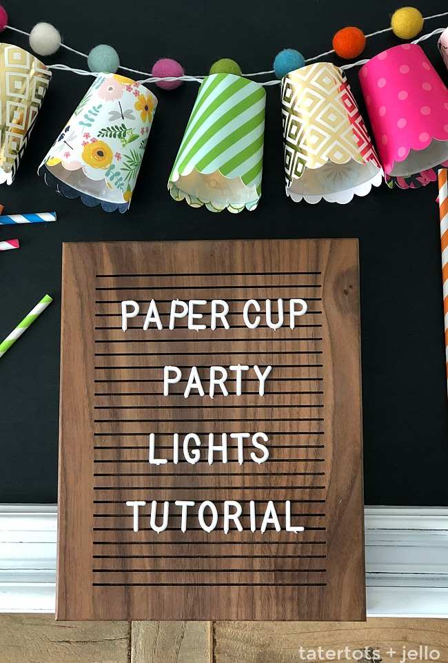 Add light to ANY party, event or even a door or mantel with DIY Dixie Cup String Party Lights. You can use any paper and it's such a cute way to celebrate!