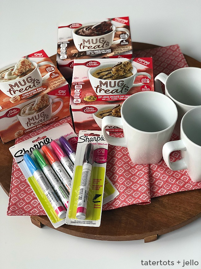 Sharpie mugs are fun to make and a great gift idea! Make a special DIY mug for a friend, neighbor or teacher and fill it with a yummy mug cake mix for a gift ANYONE will love! This tutorial shows you how to make DIY Sharpie Mugs that will last!