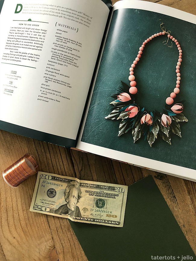 Make a Graduation Money Lei Necklace. Instead of giving money in an evelope for graduation, get creative and make a graduation lei necklace with paper leafs! After graduation the graduate can take the paper elements off and still have a cute wood necklace to wear and remember their special day!
