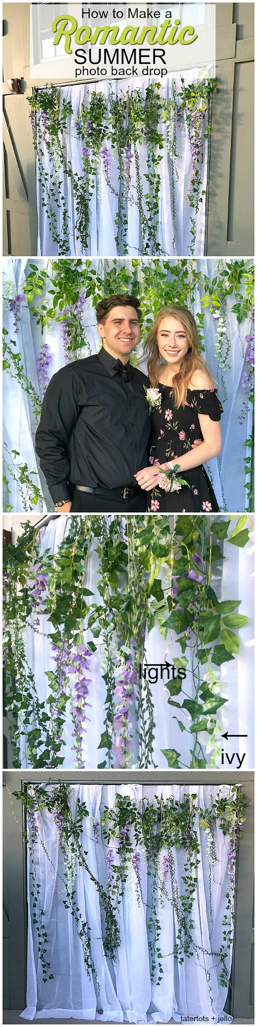 Create a simple Romantic Summer Photo Backdrop for a prom, wedding or party. You can put this photobooth together without nails or hooks.