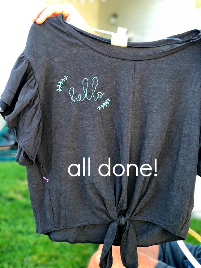 Embroider special words or sayings on a shirt for a one-of-a-kind statement piece. You can embroider any type of clothing - tank tops, shirts, sweatshirts, even shorts or pants! Give it a try!
