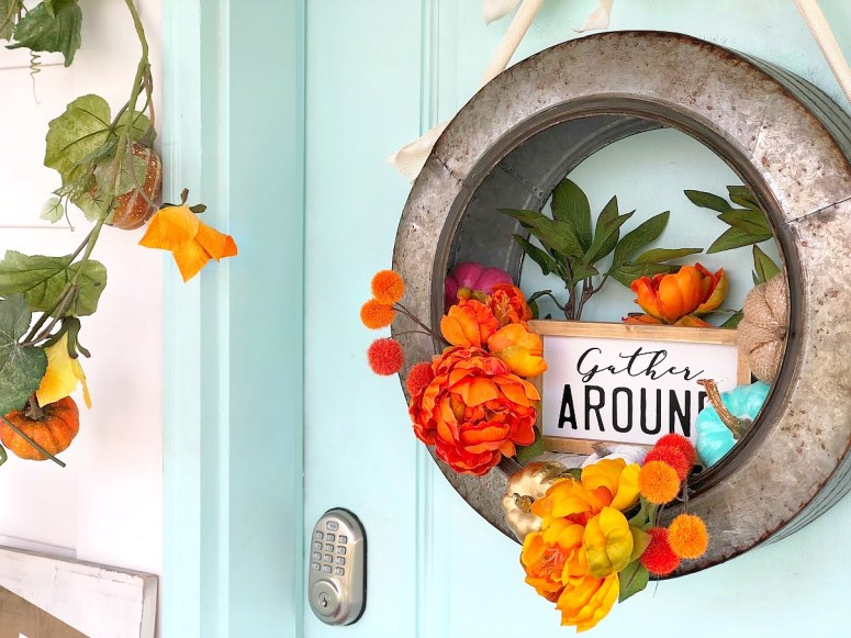 """Celebrate the Fall season with a metal farmhouse """"Gather"""" wreath. Hang your wreath on your door or inside and enjoy it through Thanksgiving!"""