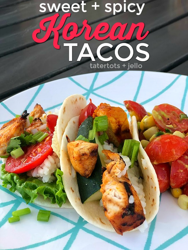 Sweet and Spicy Korean Chicken Tacos are a fun twist on traditional tacos. Marinated chicken is bursting with sweet and spicy flavor and served with fresh toppings!