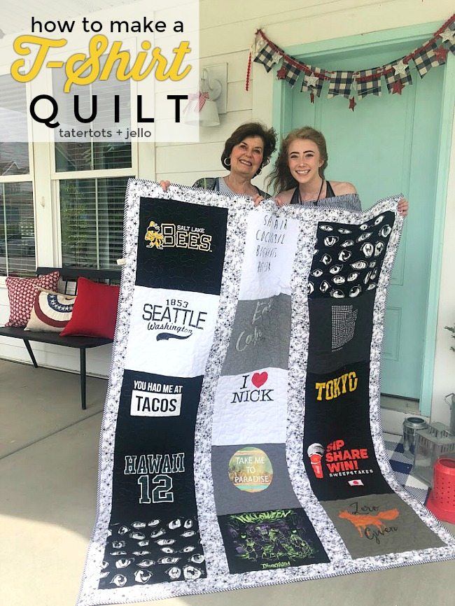 How to Make a T-Shirt Quilt! Take treasured t-shirts and supplement them with thrifted shirts with meaningful places, logos or sayings for a quilt that will be treasured always. It is a fun craft to make with a teen or tween or give as a gift!