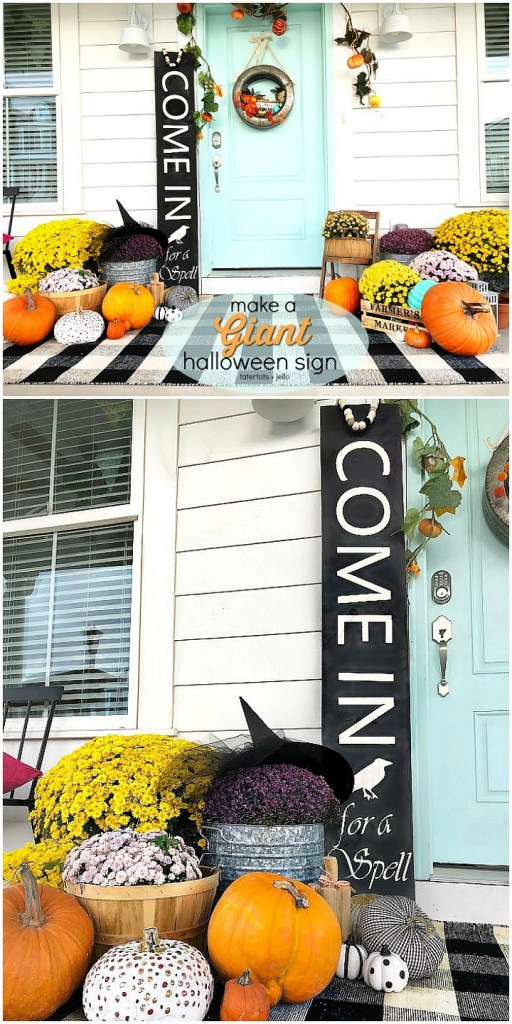Make a giant sign for Halloween! It's easy and inexpensive to do!