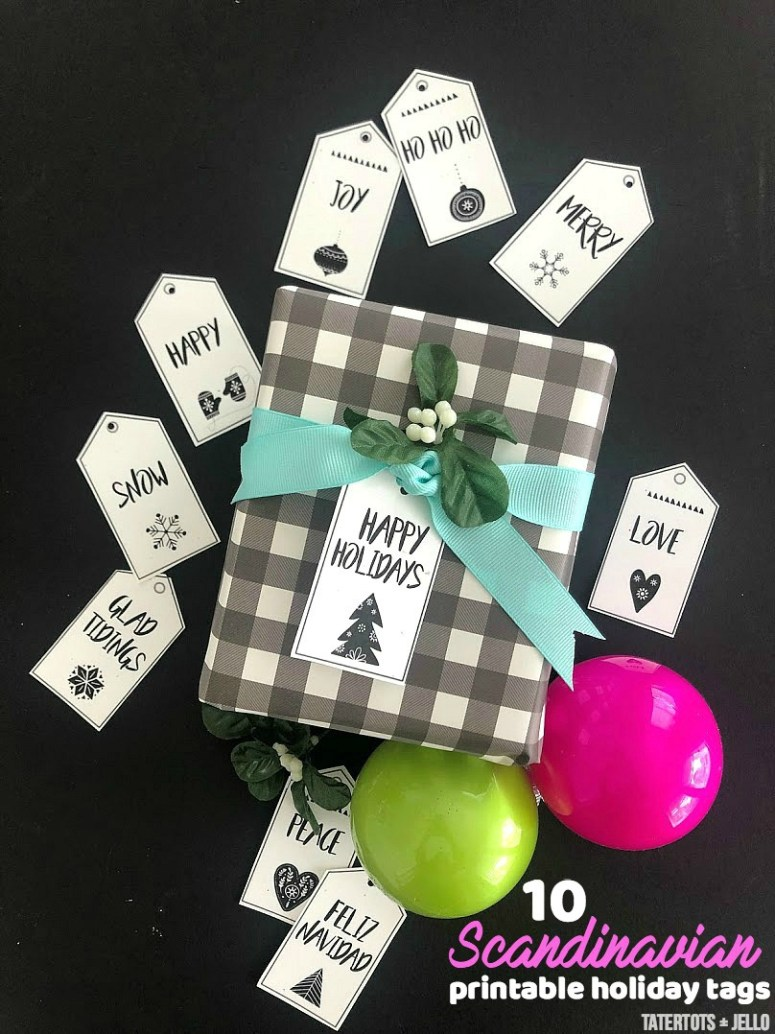 Scandinavian-style black and white holiday printable tags. 12 free black and white holiday gift tags that you can print off and add to your packages this holiday season!