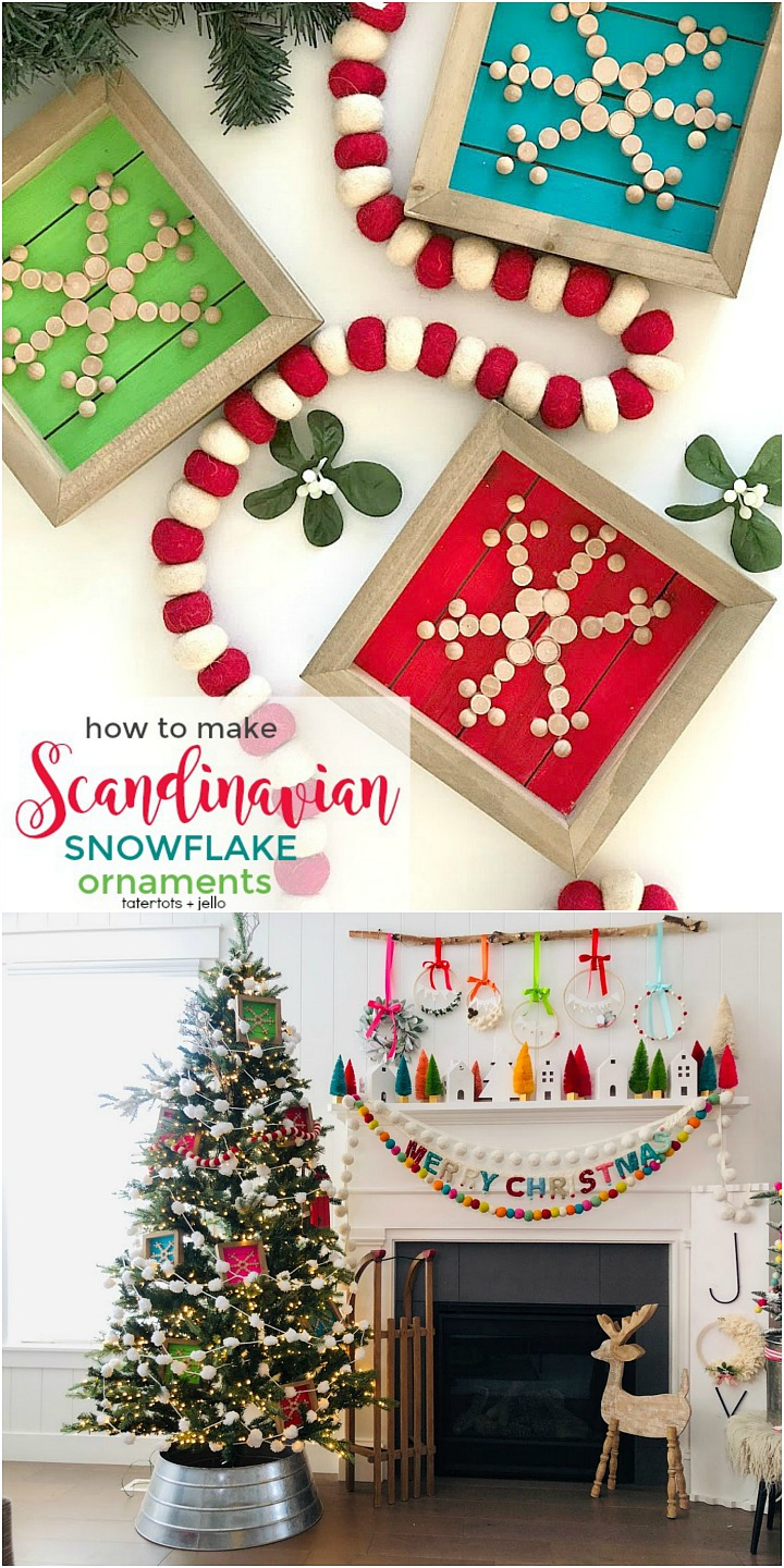 How to make holiday Scandinavian wood snowflake ornaments. These simple wood plaque ornaments are easy to make and you can paint or stain the wood whatever color goes with YOUR holiday decor!