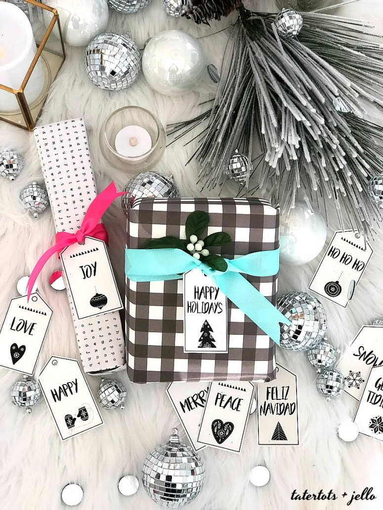 Scandinavian-style black and white holiday printable tags. 10 free black and white holiday gift tags that you can print off and add to your packages this holiday season!
