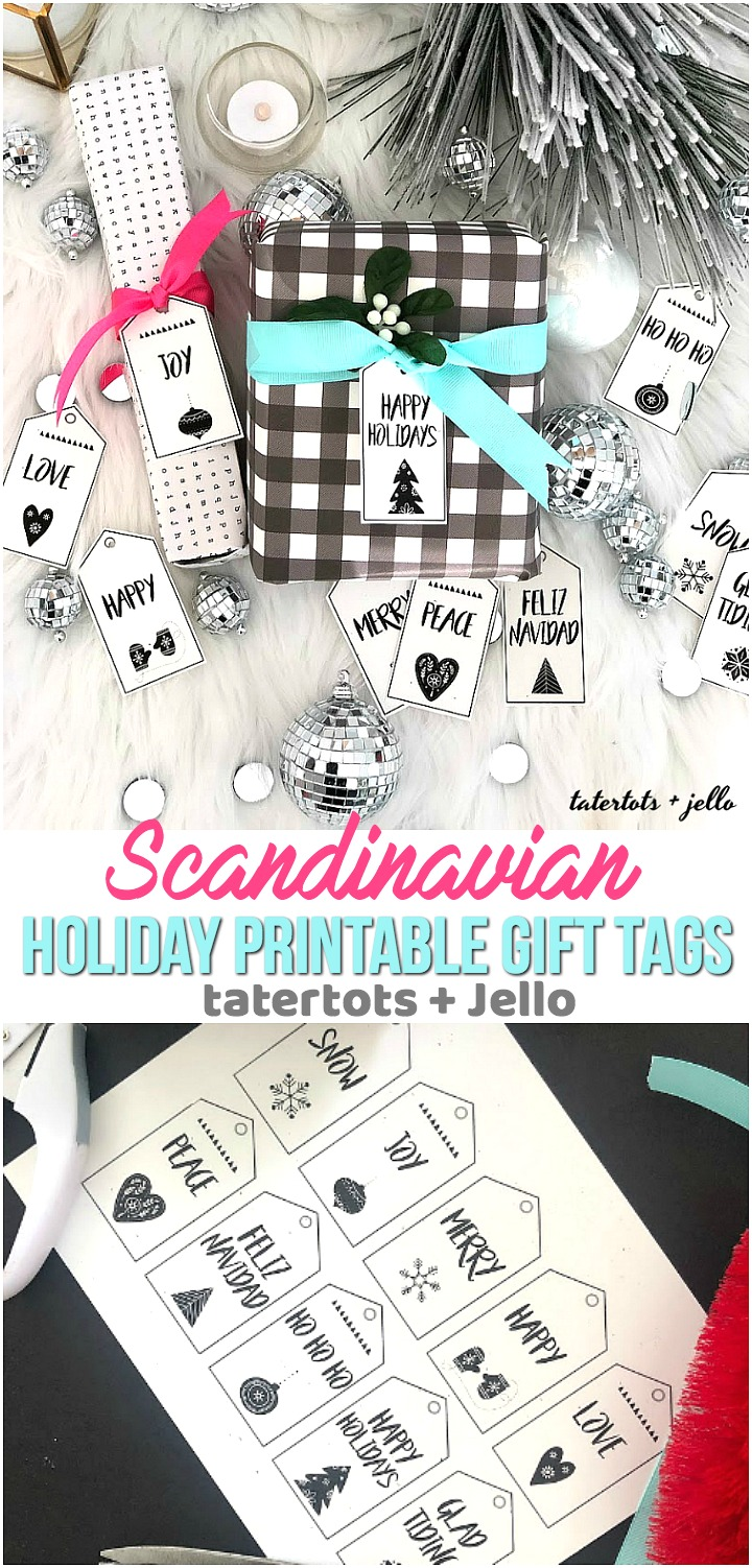 scandinavian style black and white holiday printable tags