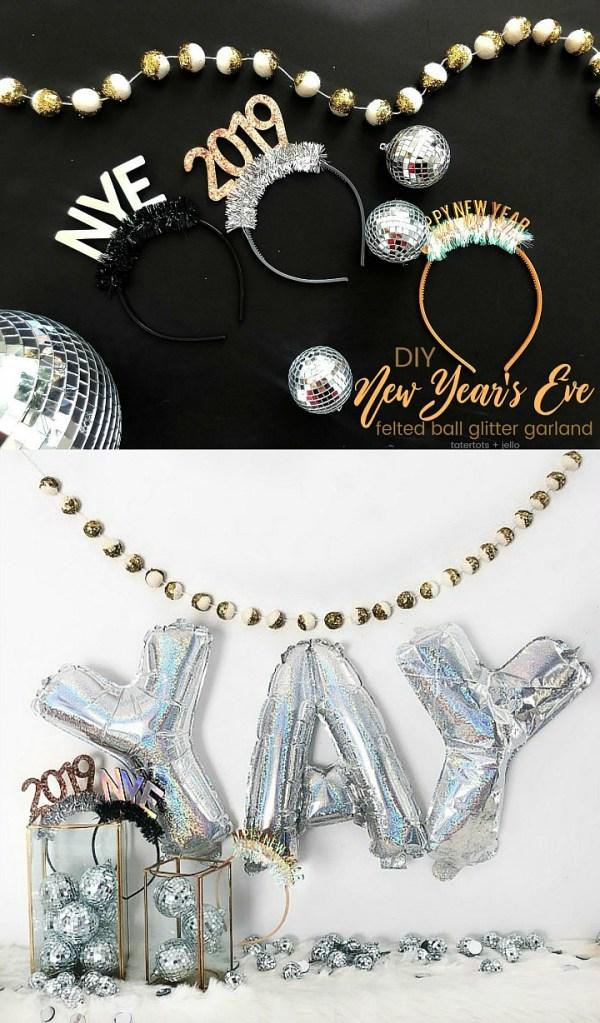 Make a New Year's Eve Glitter Felted Ball Garland!