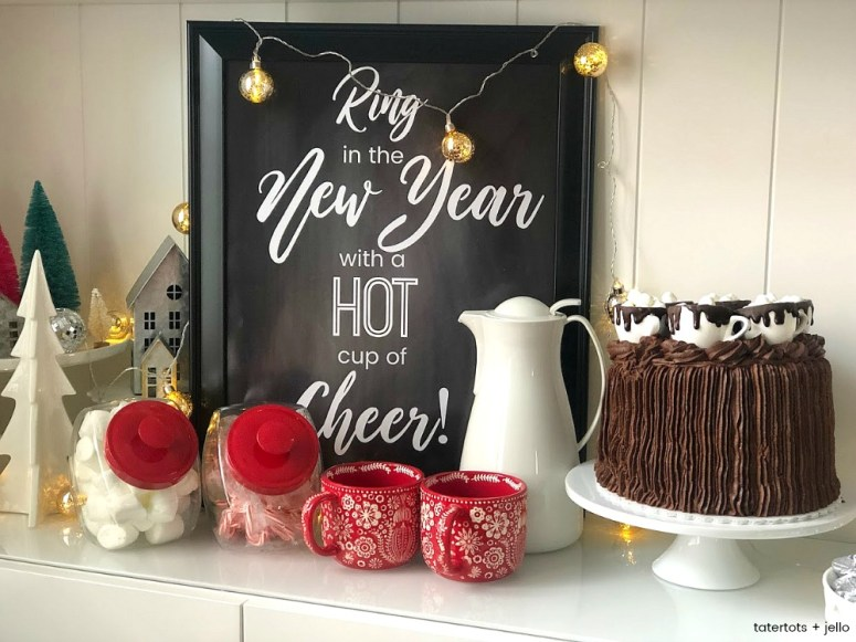 New Years Eve Hot Cocoa Bar Printables. Ring in the New Year with a festive hot cocoa bar. It's easy with simple ingredients and these free NYE hot cocoa printables!