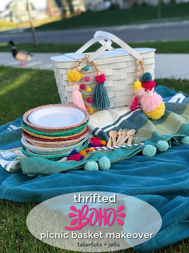 thrifted boho picnic basket makeover