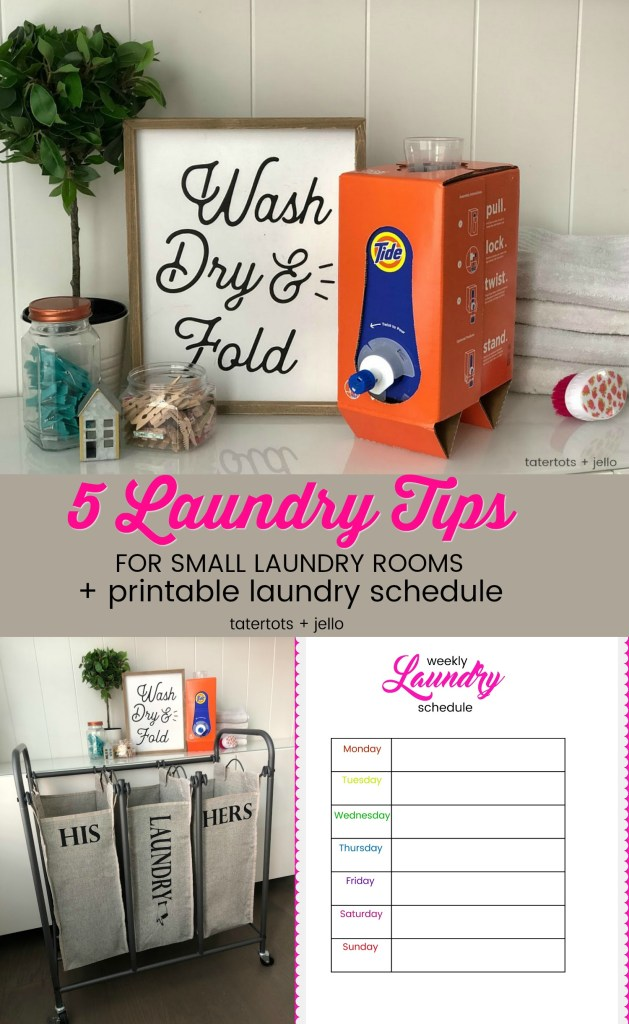 5 Laundry Tips for Small Laundry Rooms and a Free Laundry Schedule Printable! Laundry hacks to help you save time.