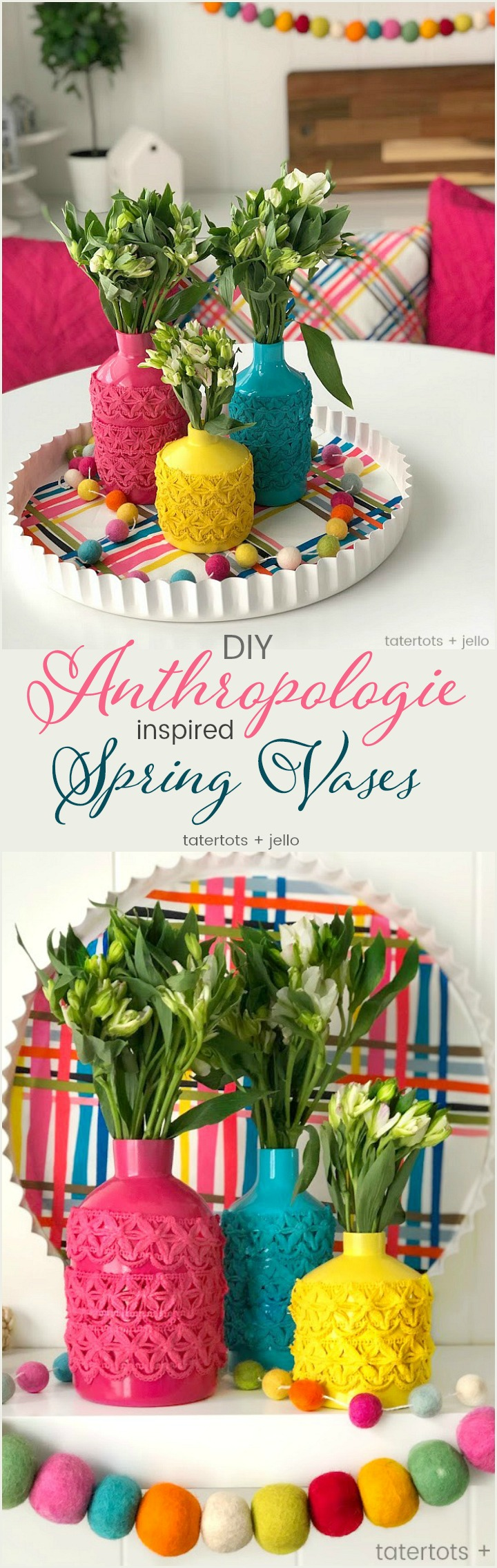 Anthropologie-Inspired Colorful Spring Vases DIY. Take simple jars, add spray paint and trim to create a beautiful centerpiece for a fraction of the cost!