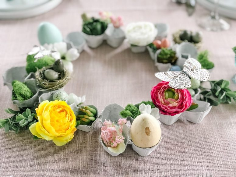Egg Carton Spring Succulent and Flower Wreath Centerpiece. Don't throw your old egg cartons out, upcycle them into a beautiful Spring wreath centerpiece!
