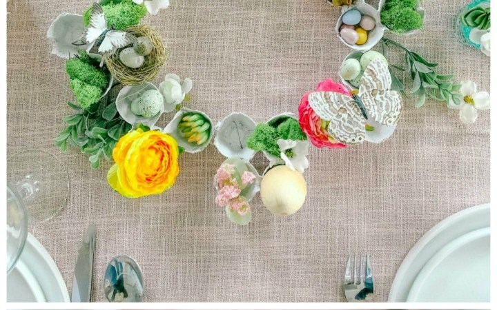 Egg Carton Spring Succulent and Flower Wreath Centerpiece + 8 Egg Decorating Ideas!