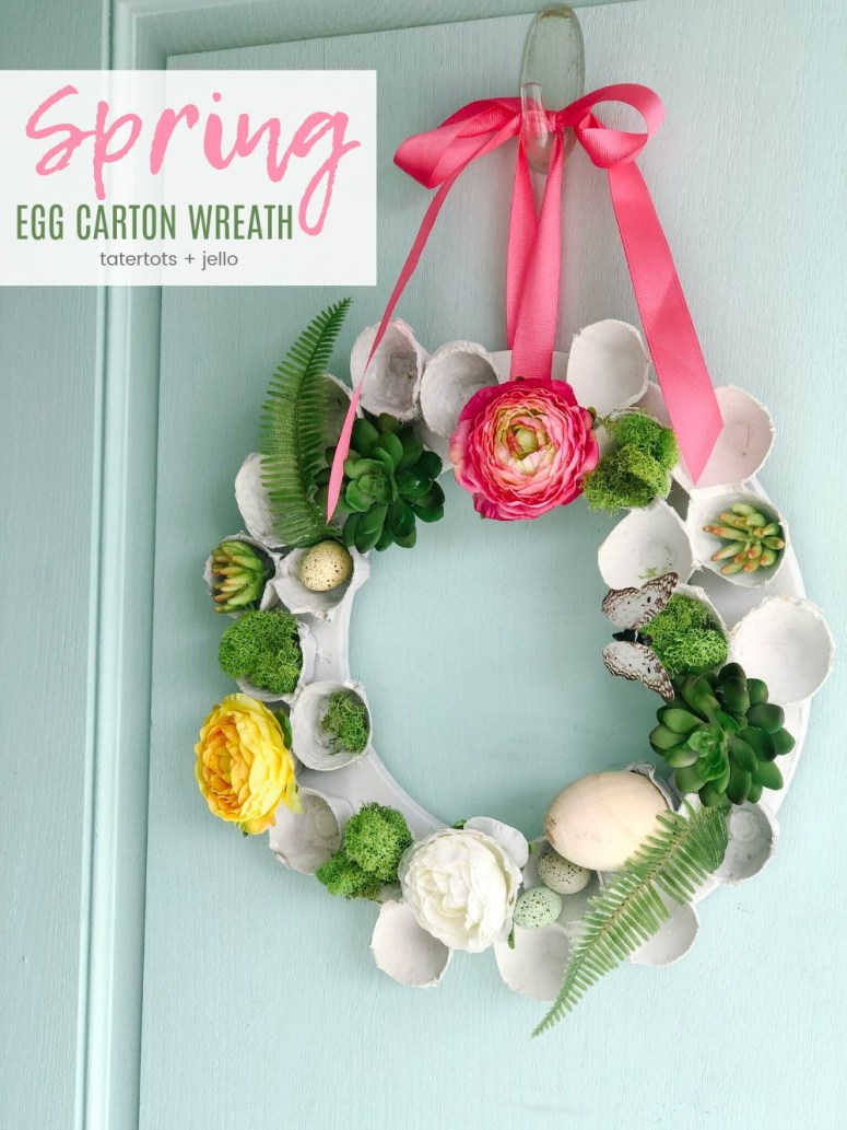 upcycle egg cartons and make a wreath for Spring!