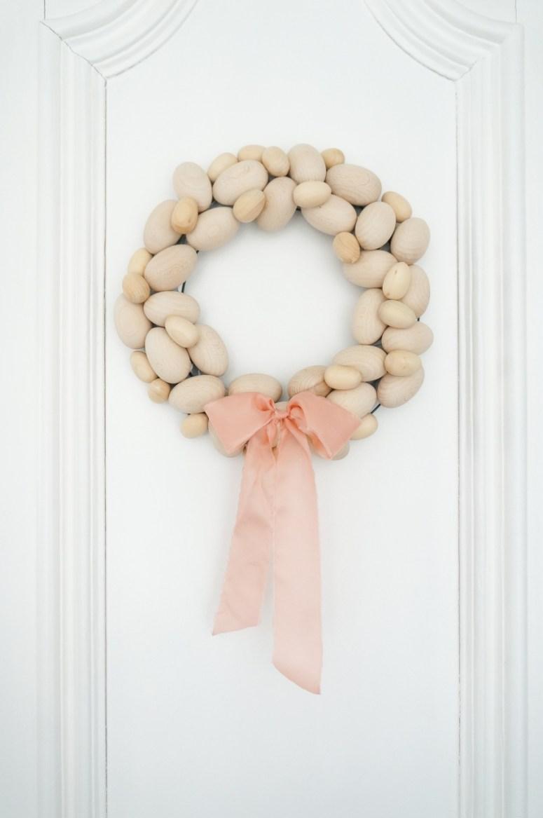 Natural wood easter egg wreath
