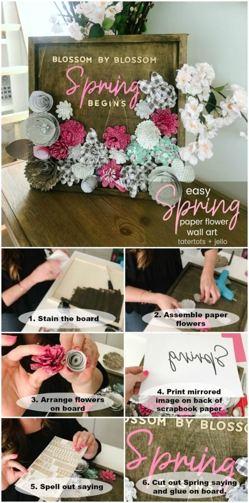 Easy Spring Paper Flower Wall Art. Create colorful art with paper flowers and a Spring saying for your home.