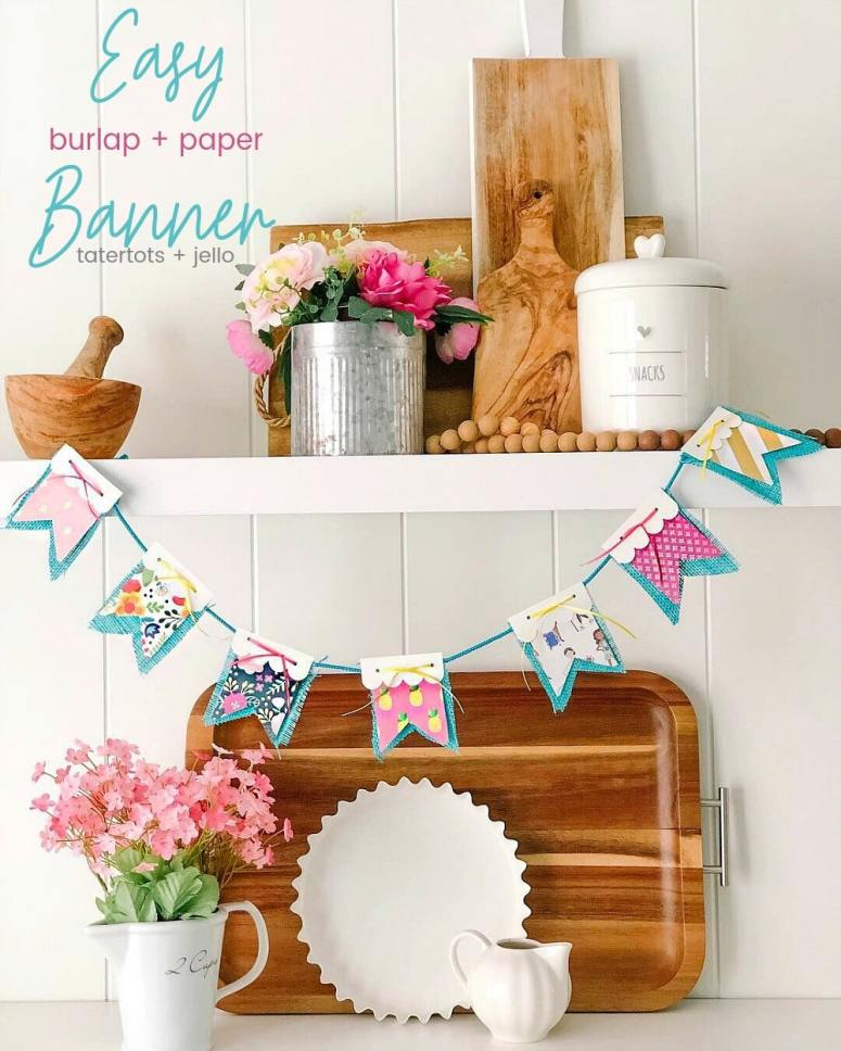 Scallop Paper and Burlap Banner with Free Templates! Create a simple paper and fabric banner for any occasion - parties, birthdays, home decor!