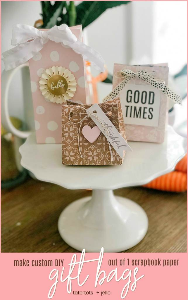 Make a custom gift bag out of a sheet of scrapbook paper! Gift bags are so easy to make and personalize for parties, special occasions and special gifts. I'll show you how to do this with the We R Memory Keepers Gift Bag Punch Board.