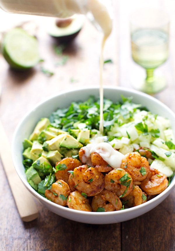 shrimp avocado salad with miso dressing