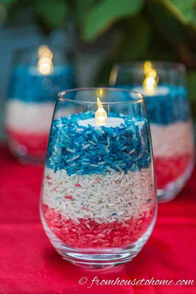 Easy DIY Red, White, and Blue Candle Holders @ From House to Home