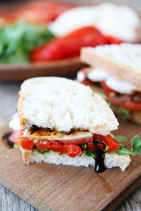 Roasted Red Pepper, Arugula, and Mozzarella Sandwich @ Two Peas & Their Pod