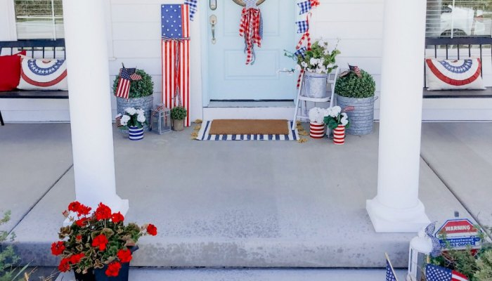 Patriotic Flag Fourth of July Porch