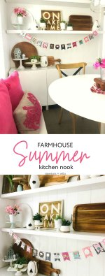 Colorful Summer Farmhouse Kitchen Nook + DIY ADVENTURE Banner