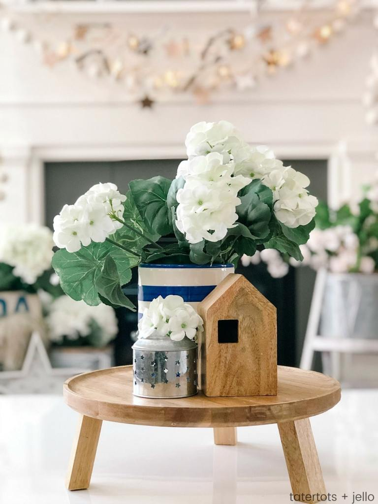 Neutral Wood Fourth of July Mantel - Farmhouse/Cottage Style. FIVE easy DIY elements to create a neutral Fourth of July mantel. Neutral elements are easy to integrate into any type of decor.