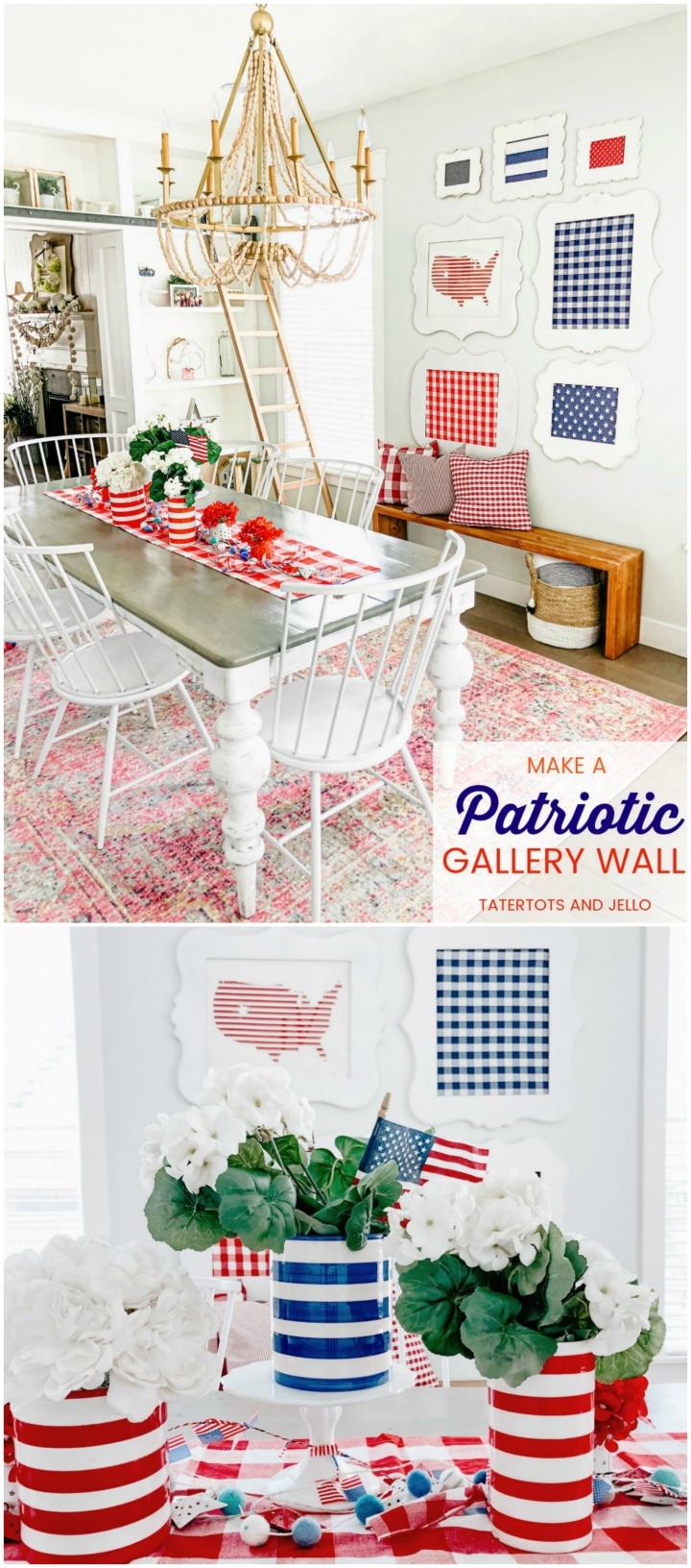 Fourth Of July Red White And Blue Gallery Wall Using Fabric