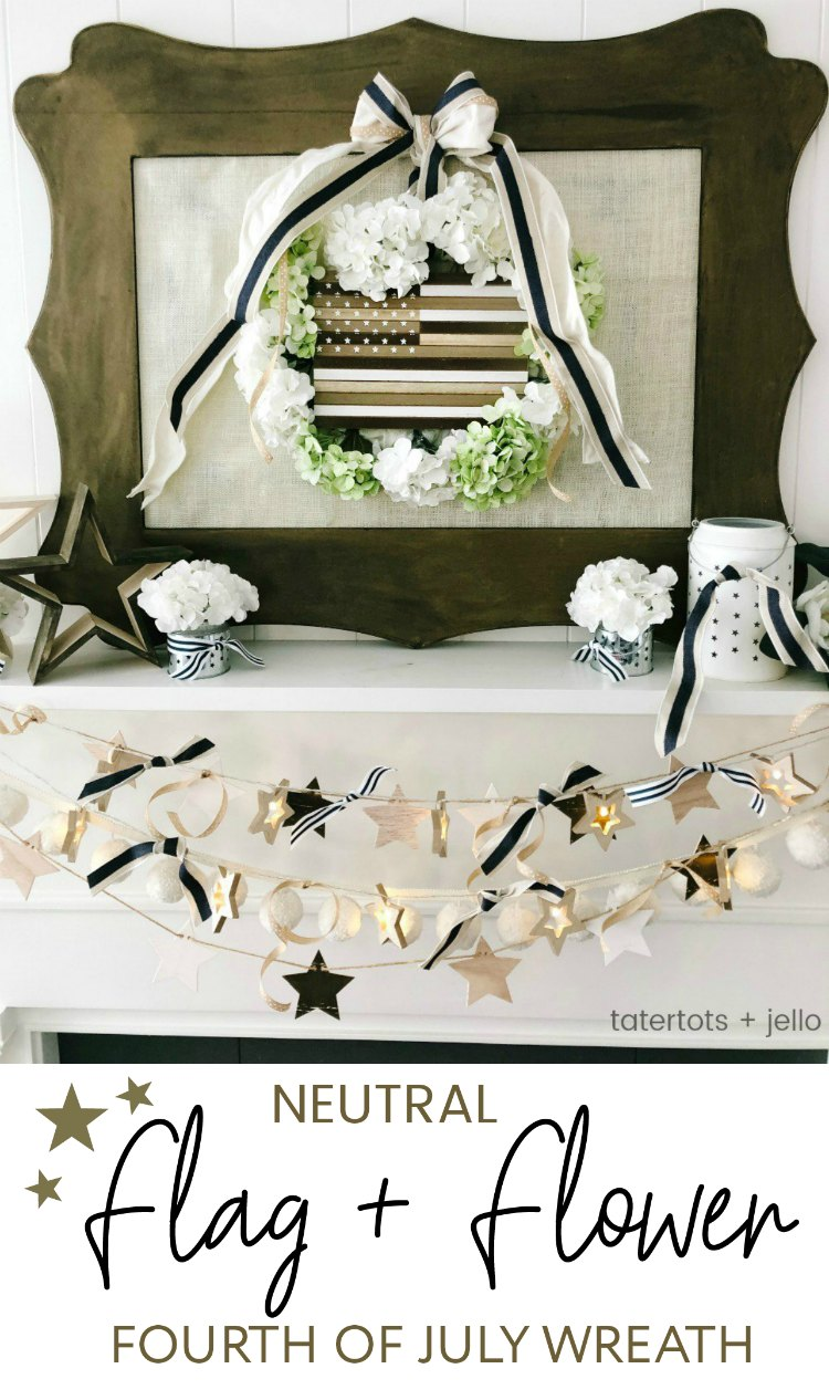 Neutral Wood Flag and Flower Fourth of July Wreath