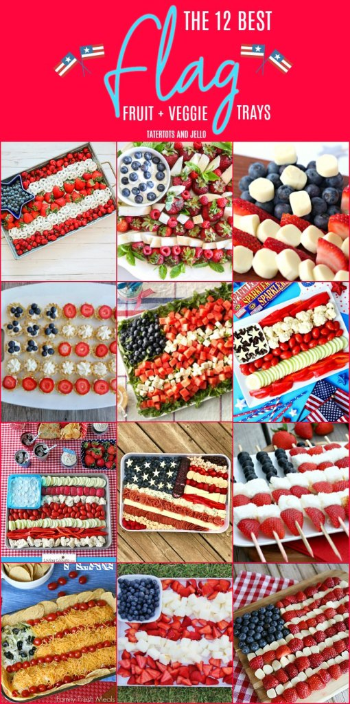 The 12 BEST Patriotic Flag Fruit and Veggie Platters. Create a healthier snack tray for Memorial Day or the Fourth of July with these fruit and veggie tray ideas!