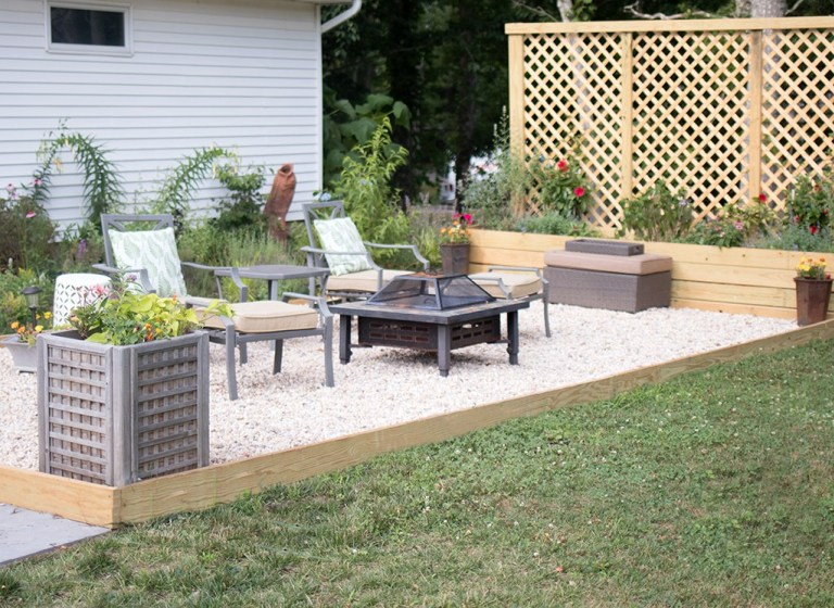 Pea Gravel Patio DIY @ Gina Michele
