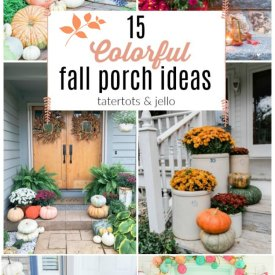 15 Bright and Colorful Fall Porch Ideas! Fall is the perfect time of year to bring bright POPS of color to your front door.