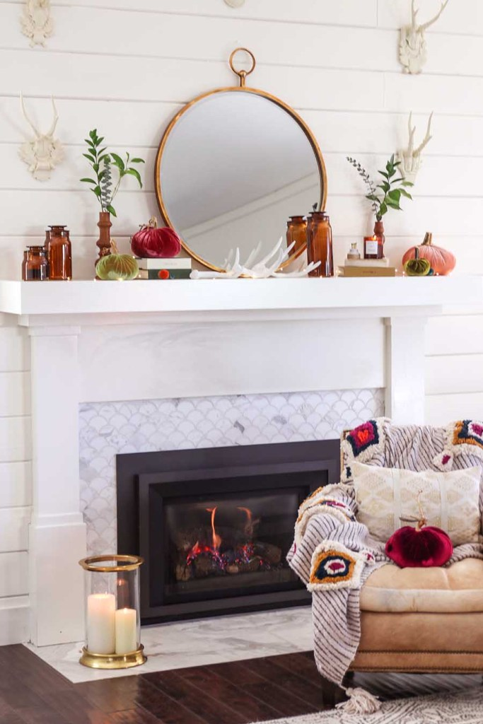 Early Fall Mantel Decor @ Modern Glam