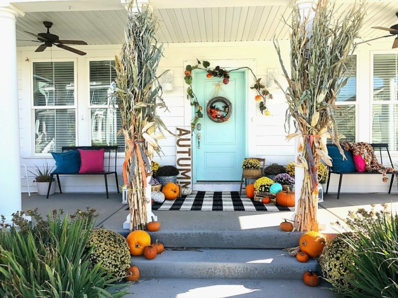 My Plaid Fall Porch - Use Plaid and Bright Colors to Welcome Fall
