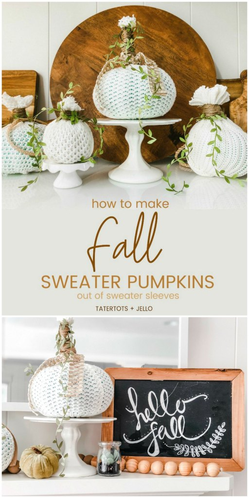 How to make easy fall sweater pumpkins. Use inexpensive dollar store pumpkins and transform them into beautiful decor with thrifted sweaters!