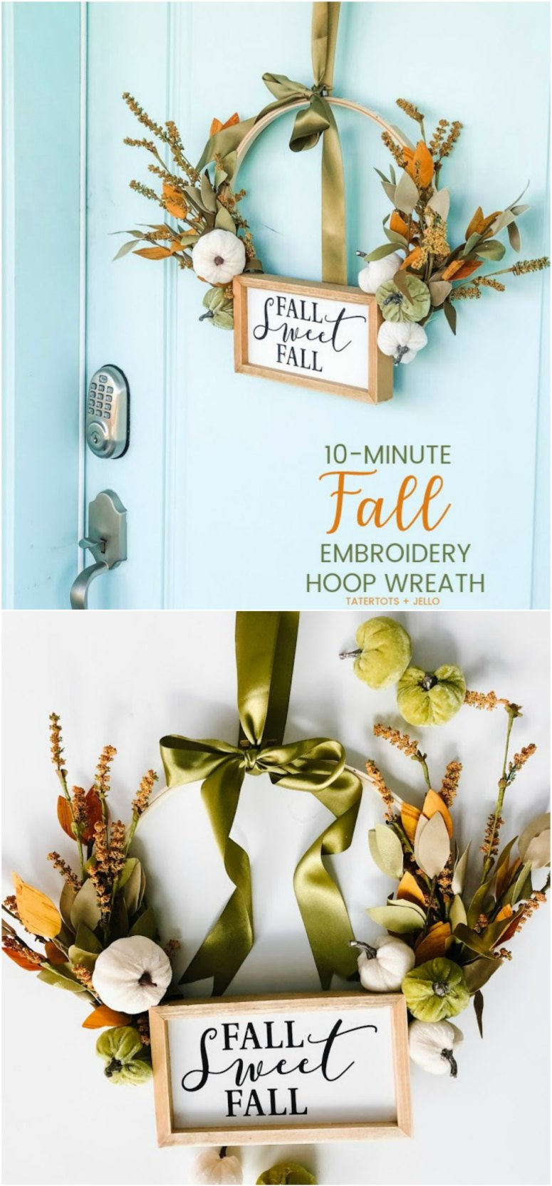 Make a Fall Embroidery Hoop Wreath! Only a few supplies are needed to create a beautiful wreath to display for Autumn and in less than 10 minutes you have a new fall wreath!