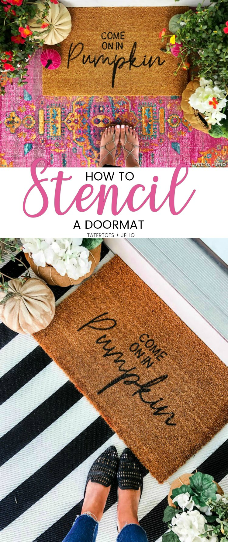 Make an Easy Fall Stenciled Doormat! All you need is a plain doormat and paint to create a welcoming doormat for Fall.