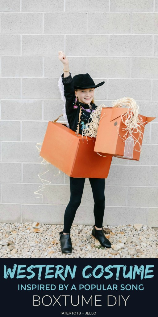 """""""Old Town Road"""" Western Boxtume DIY. Turn a catchy western song into an easy Halloween costume with Amazon Prime smile boxes and some creativity!"""
