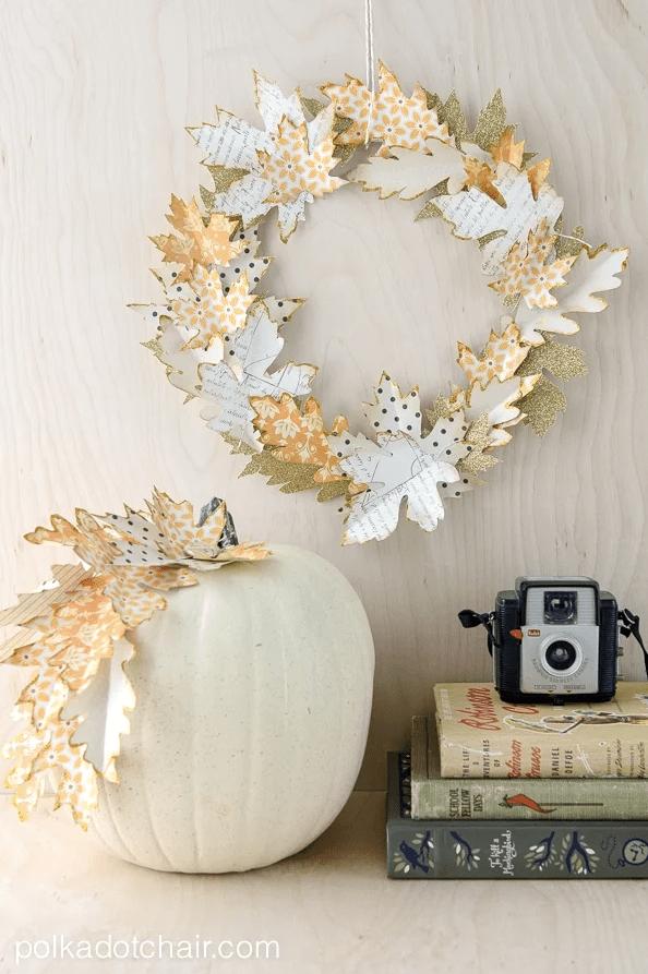 Autumn Paper Leaf Wreath Tutorial @ Polkadot Chair