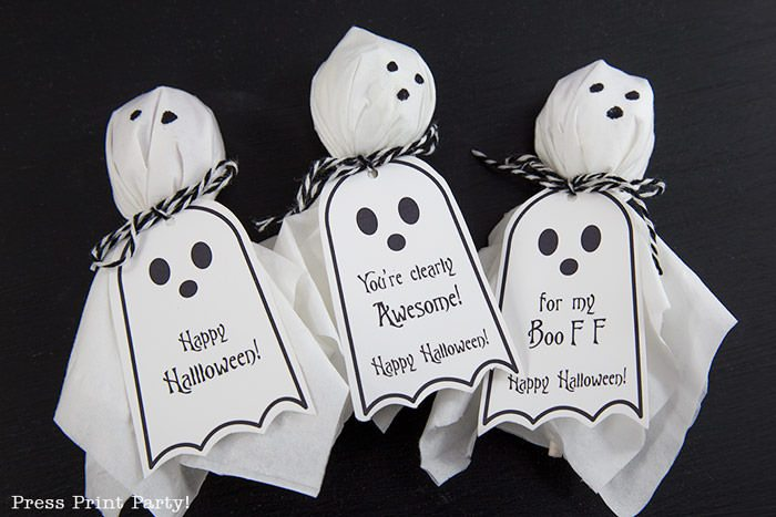 Ghost Lollipops DIY With Free Printable Halloween Tags @ Press Print Party