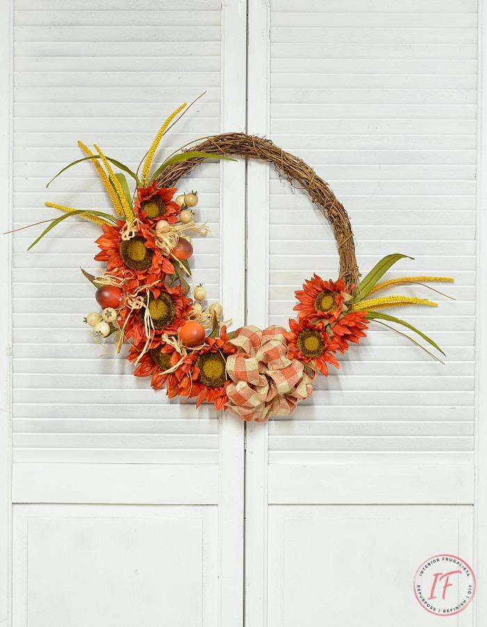 Orange Sunflower DIY Fall Wreath @ Interior Frugalista