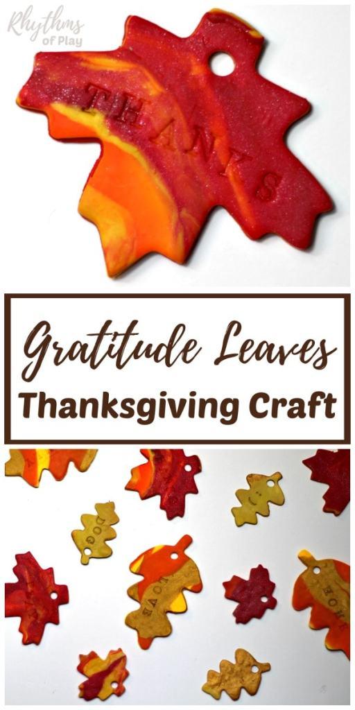 Clay Gratitude Leaves Thanksgiving Craft @ Rhythms of Play