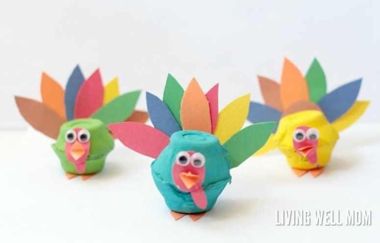 Egg Carton Turkey Craft @ Living Well Mom
